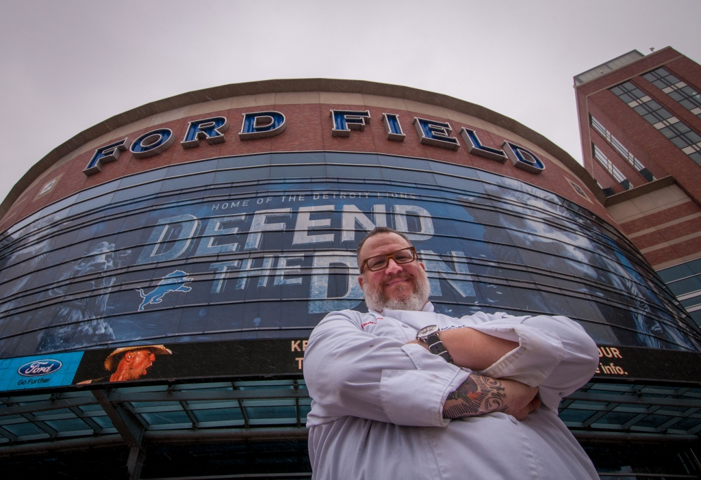 Ford Field Executive Chef Joe Nader poses outside the stadium